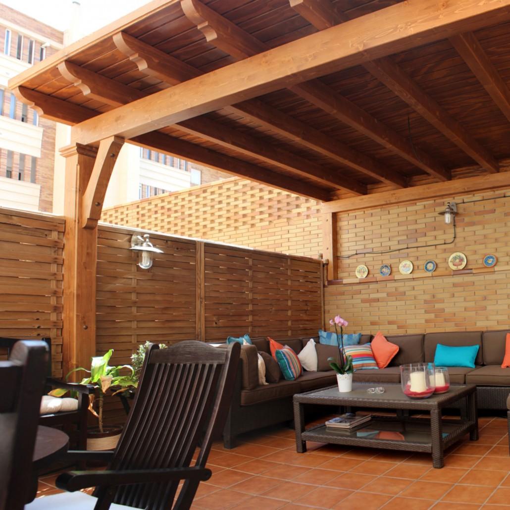 Pergolas de madera techadas benoit roubaud carpinter a - Pergolas de madera para terrazas ...
